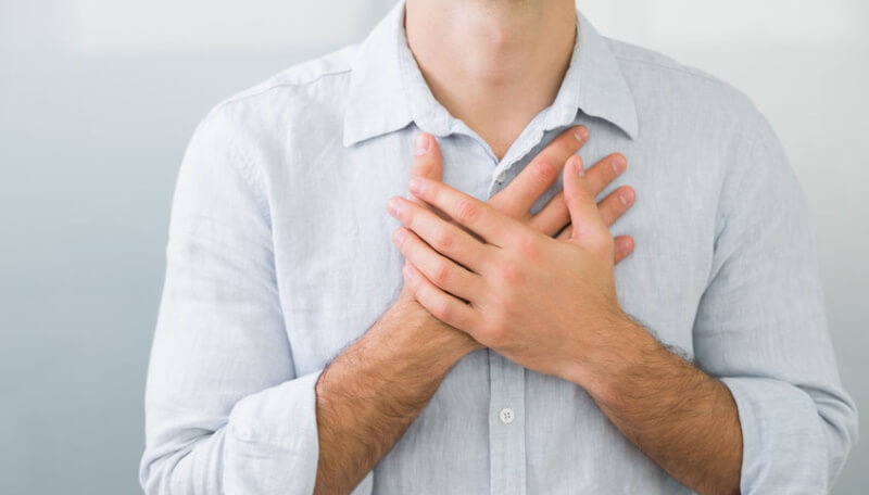a man with chest pain